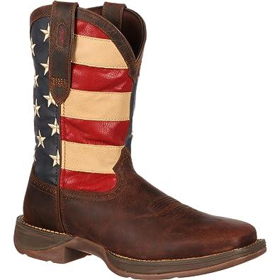 e1b86668d36 Durango Men's Rebel American Flag Cowboy Boot Square Toe Brown 7.5 D(M) US