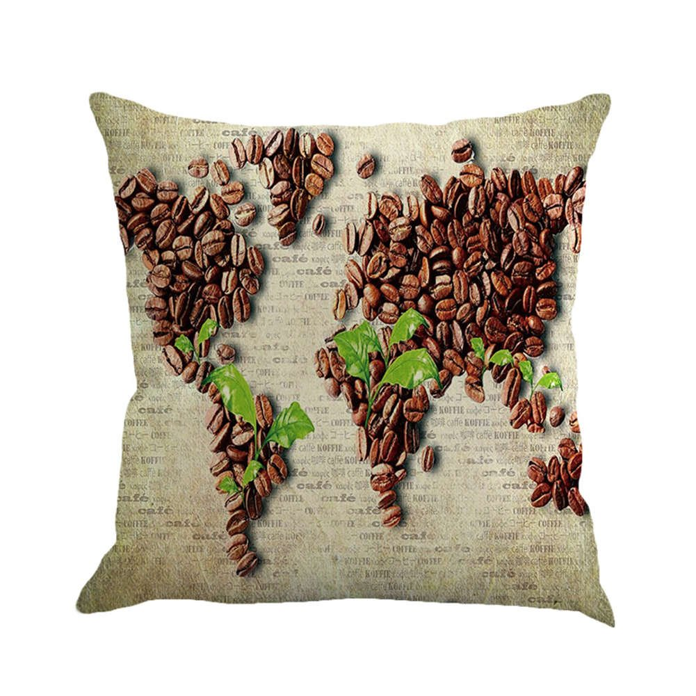 SUNONE11 Green Leaves Coffee Bean World Map Pillowcase Funny Pillow Case Waist Back Cushion Cover Protector 17 x 17 inches for Office Couch