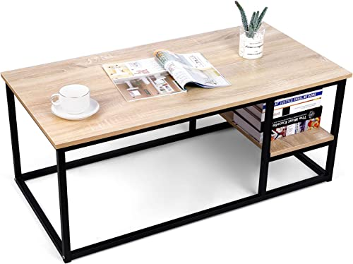 Amzdeal Coffee Table with Shelf, 40L 20W 17.7H inch,Living Room Sofa Table,Eco-Friendly,Sturdy and Easy Assembly,Modern Rectangular Wood Table with Metal Frame,Nature