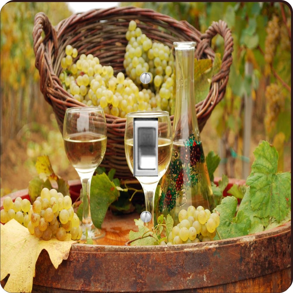 Rikki Knight White Wine Glasses with grapes Design Single Toggle Light Switch Plate