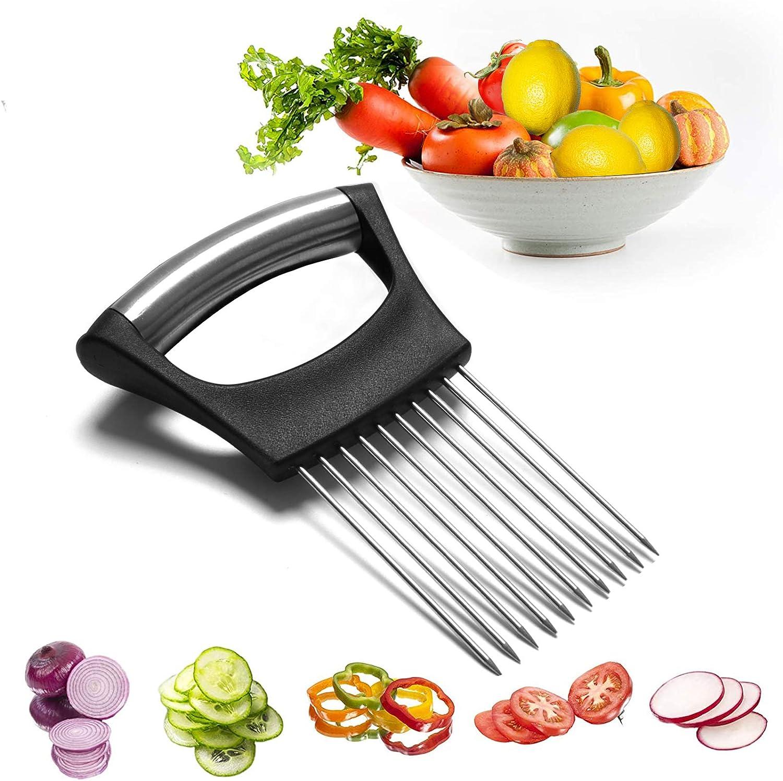 AnDocK Slicer Meat Slicer, Food Slice Assistant Onion Holder Slicer, Kitchen Gadgets kitchen Utensil Holder - Stainless Steel Vegetable Holder Cutting Kitchen Gadget Onion Peeler