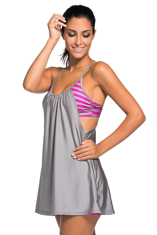 Grey Flowing Swim Dress Layered 1pc Tankini Top as shown (US 22-24)XXXL by Bonita Sound (Image #3)