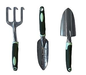 Typhon East Garden Tool Set (3 Piece) | Stainless Steel Gardening Kit | Includes Trowel, Transplant Trowel & Hand Rake | Rubberized Handles | Great Gardener Gift Idea Women Men