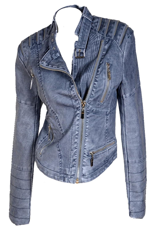 Damen Leder Biker Lederjacke Kunstleder Boyfriend Übergang Übergangsjacke Jeans Blau 34 36 38 40 42 XS S M L