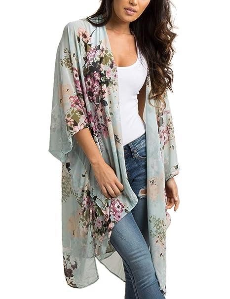 4c78faece5c15 Chunoy Women's Floral Chiffon Draped Loose Lightweight Cardigan Sheer Kimono  Cover Ups at Amazon Women's Clothing store: