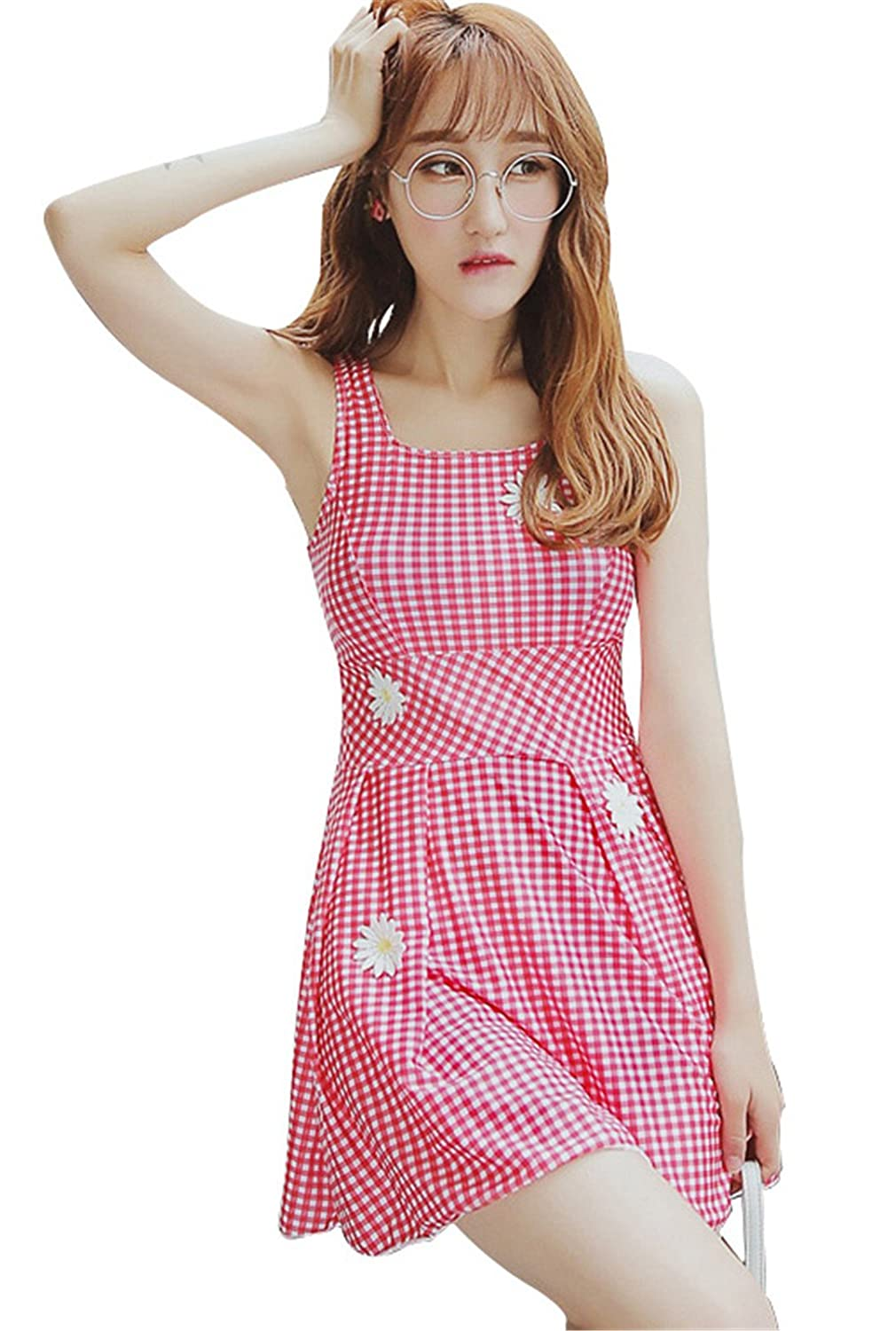 Two-Piece Gingham Checkered Check Skirted Swimsuit Tankini Top and Boxer Bottom Set Beach Wear