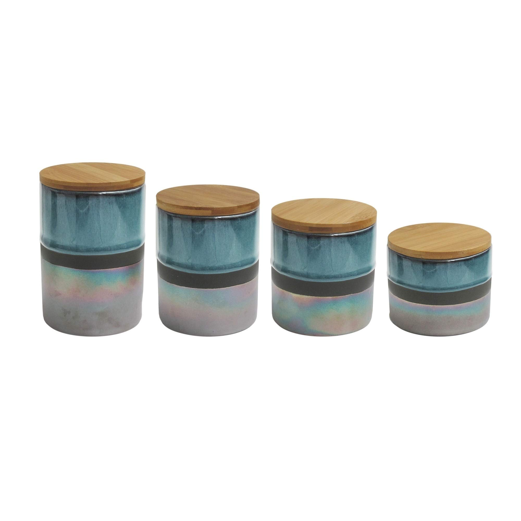 4 pc Canister Set, Teal Green Opal Stripe Pattern Multiple Sizes Four Piece Ceramic Fancy Kitchen Canisters Shabby Chic, Aqua Blue Silver Solid Stripe Tabletop Storage Containers Room Decor, Stoneware