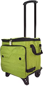 DALIX Rolling Cooler Thermal Insulated Trolley Bag Sports Leak Proof in Olive Green