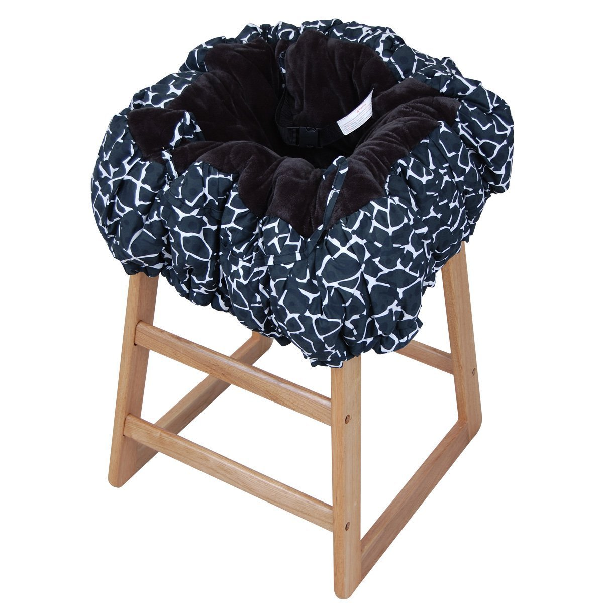 Floppy Seat Deluxe Velboa Shopping Cart and High Chair Cover with Messenger Bag, Black Giraffe (Discontinued by Manufacturer) 50-010