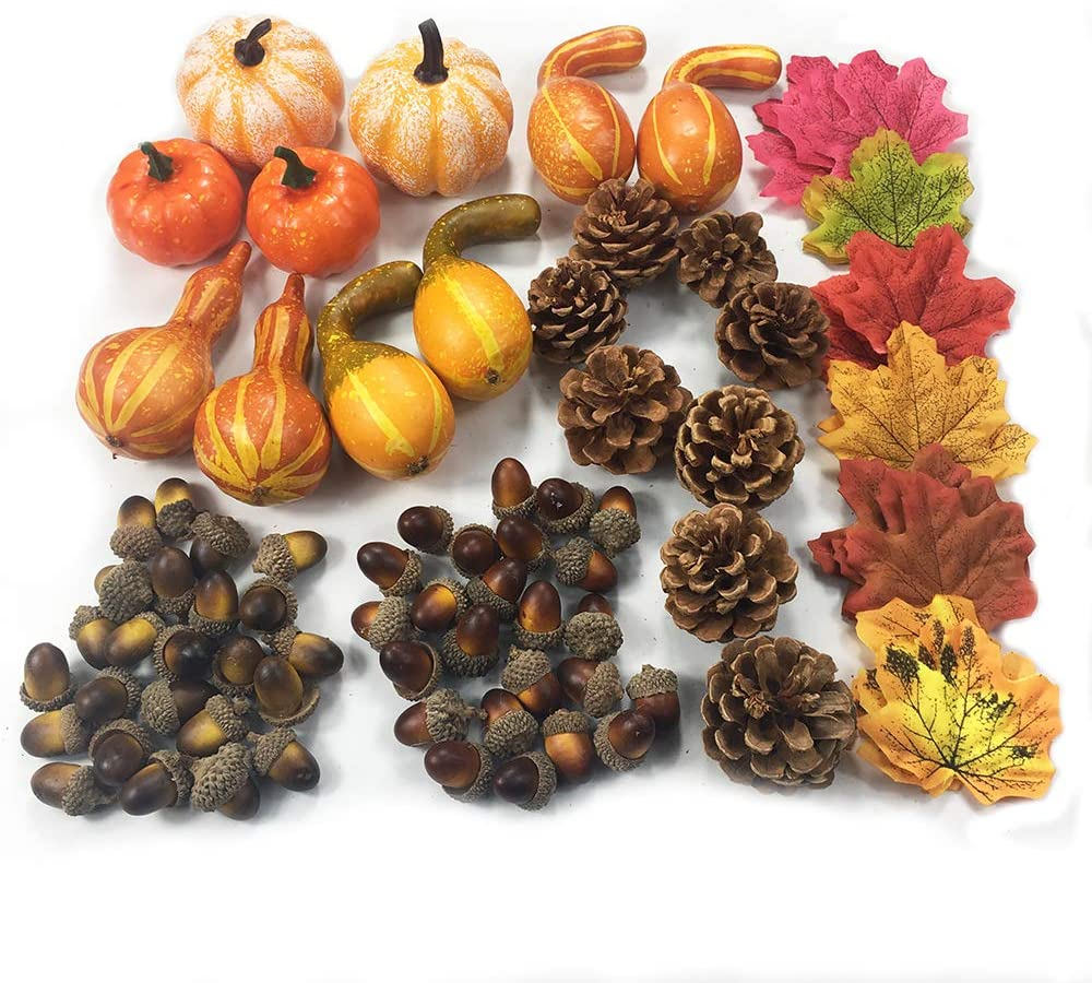 COTOSEY 170 Pcs Artificial Pumpkins Gourds Maple Leaves Acorns Natural Pinecones Ornament Set for Decorating and Designing