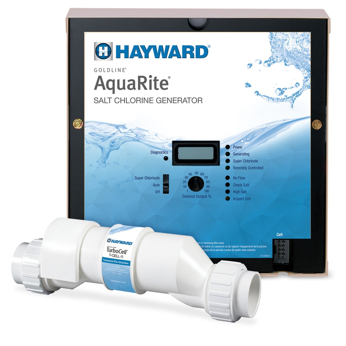 Amazon.com : Hayward Goldline AQR15 AquaRite Electronic Salt Chlorination  System for In-Ground Pools, 40, 000-Gallon Cell : Swimming Pool Chlorine :  Garden ...