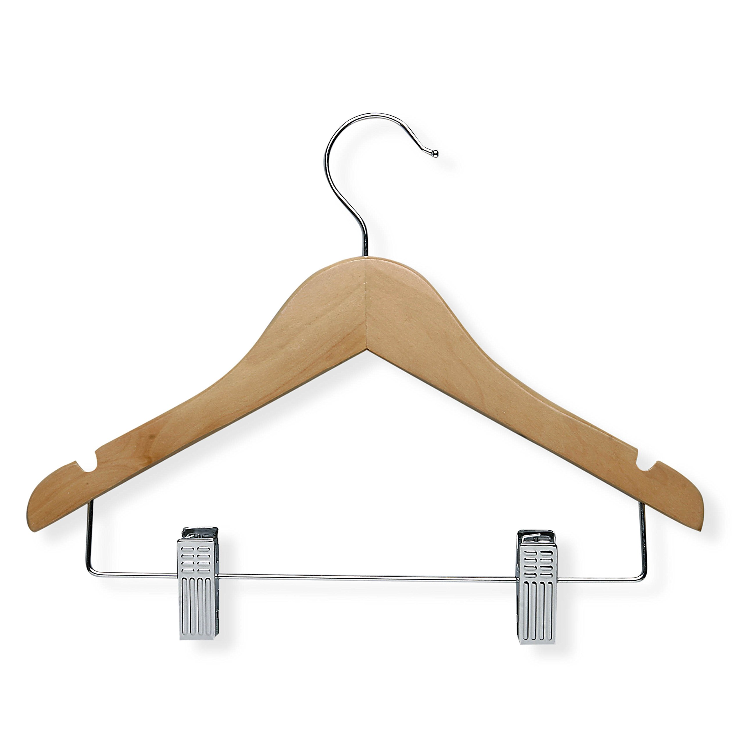 Honey-Can-Do HNG-01225 Kid's Wooden Shirt and Pants Hanger with Clips, 5-Pack, Maple
