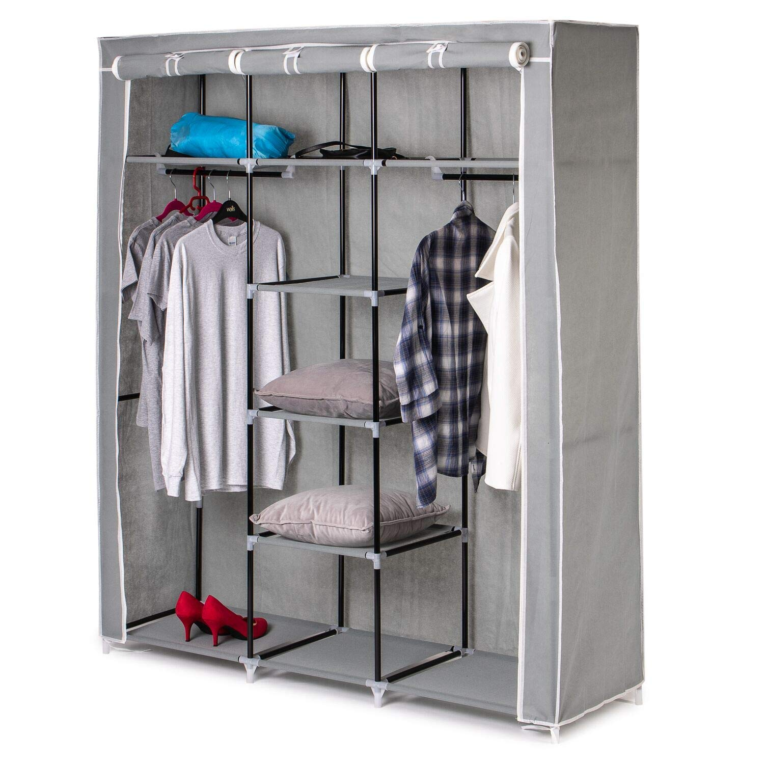 Home Treats Large Grey Canvas Wardrobe Hanging Rail Clothes Closet Storage Shelves Organiser For Kids Adults Bedroom 171 X 146 X 46 Cm Buy Online In El Salvador At Desertcart