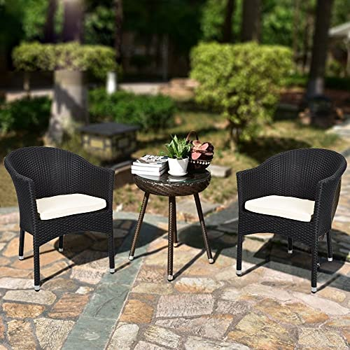 KARMAS PRODUCT 4 PCS Outdoor Rattan Chairs Patio Garden Furniture with Seat Cushions,Weave Wicker Armchair Black