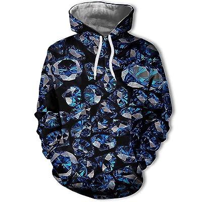 844 Unisex Azul Diamante 3D impresión Digital suéter de los Hombres, Sudadera con Capucha Sudadera otoño, una Pieza, Azul, M: Ropa y accesorios