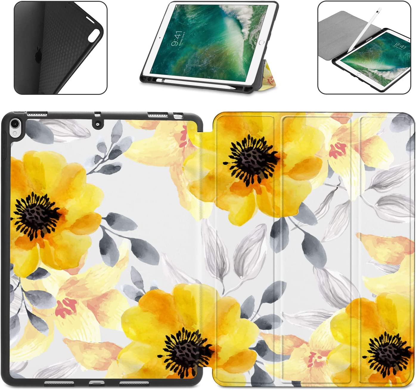 Dongke Case with Pencil Holder for iPad Pro 10.5 Case/iPad Air 3 Case 2019 (3rd Generation), Slim Shell Sunflowers Pattern Series Lightweight Soft TPU Back Smart Stand Cover (Auto Wake/Sleep)