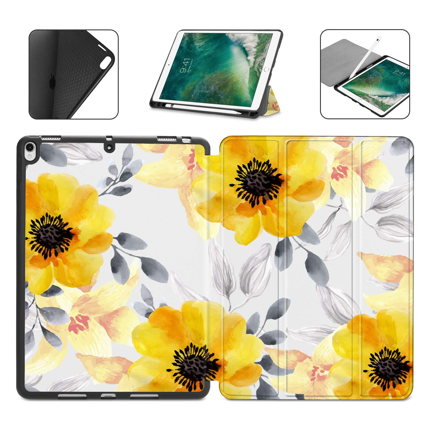 2019 with Pencil Holder 3rd Gen Ultra Slim TPU Smart Case Cover with Auto Wake//Sleep Function Compatible with New iPad Air 3 2019// iPad Pro 10.5 Case for iPad Pro 10.5 /& iPad Air 10.5