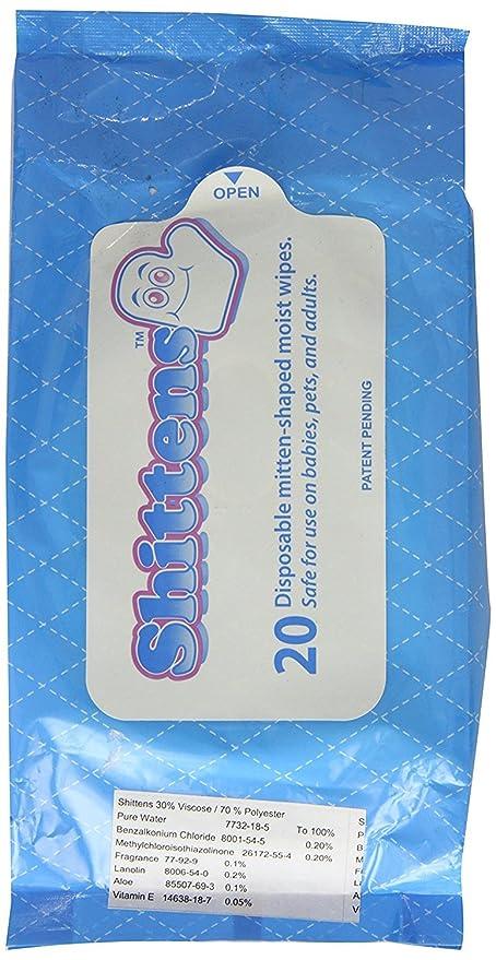 Tshittens - Toallitas húmedas desechables en forma de guante, 1er pack (20 unidades)