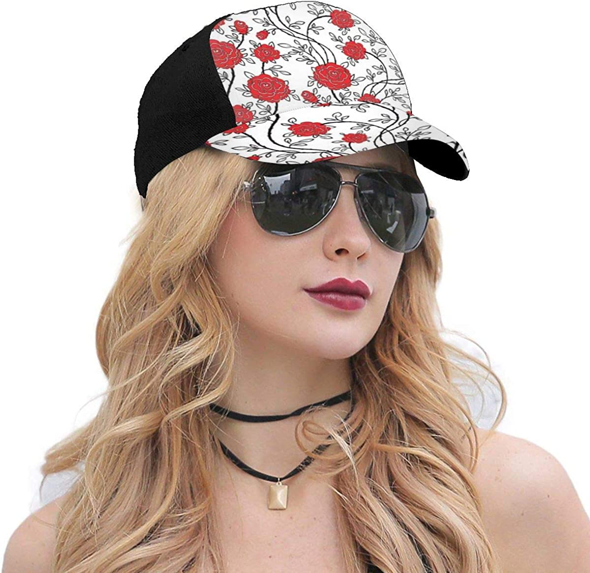 Red Roses Seamless Classic Baseball Cap Men Women Dad Hat Twill Adjustable Size