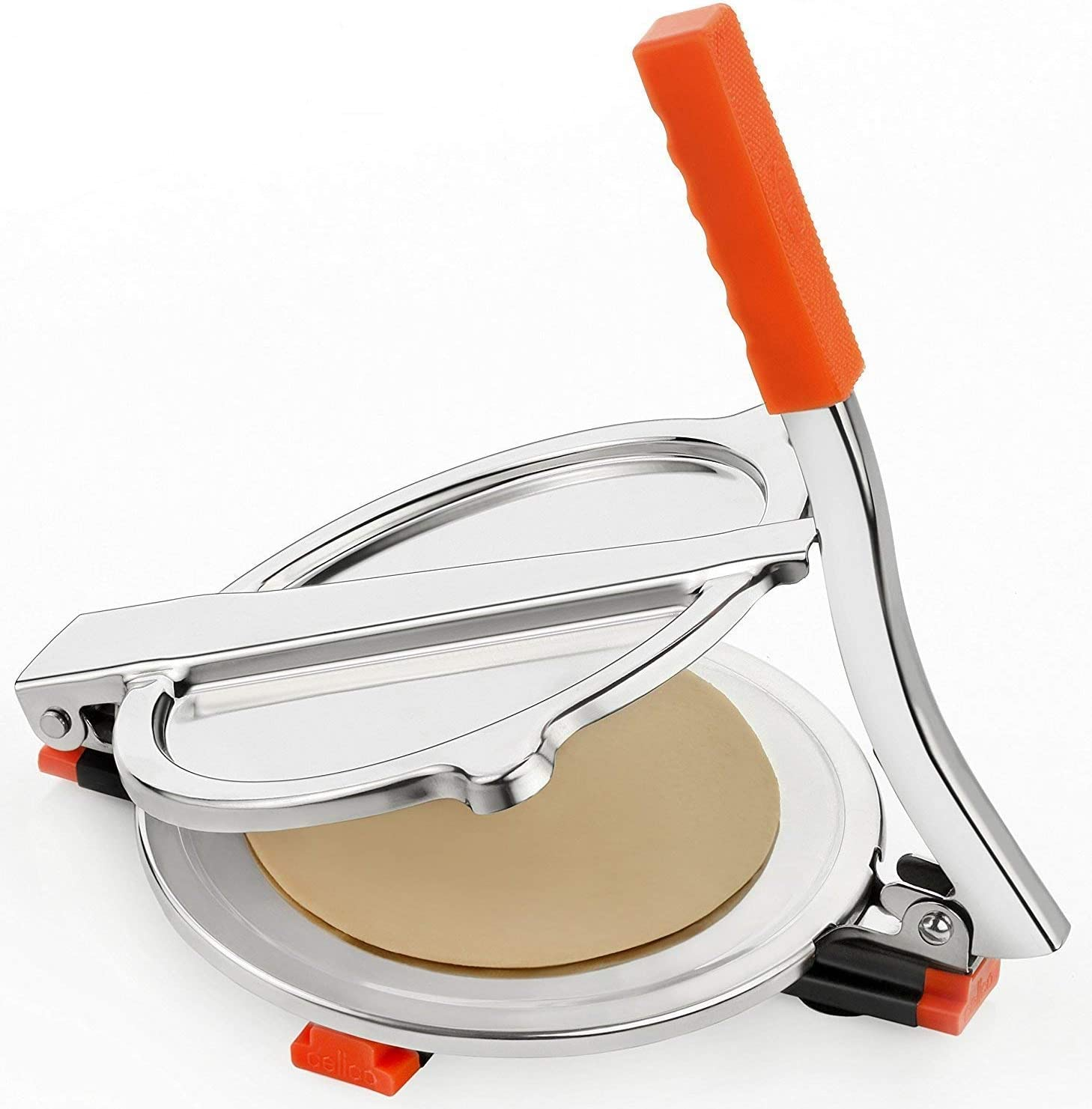 Stainless 8 Inch Puri Press Machine//Tortilla Press with Extra Heavy Handle and Free Fry Strainer