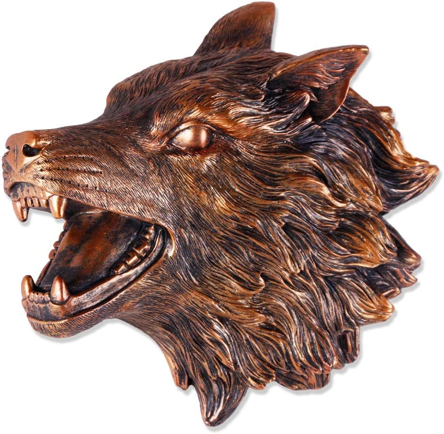Wolf Head Wall Decor 3D Antique Copper Wolf Wall Sculpture Faux Taxidermy Resin Wall Animal Head 11x9x3.5 Inches