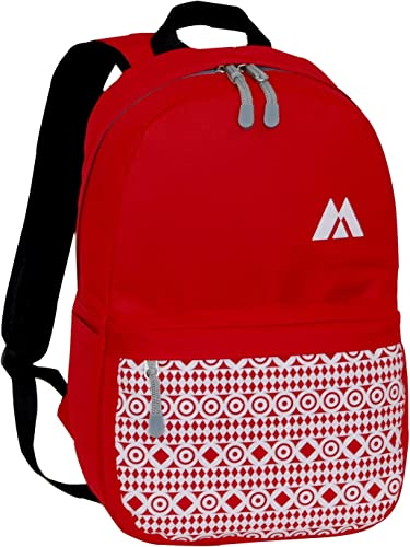 Everest Printed Pattern Backpack, Red, One Size