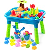 BFUNTOYS Water Table for Toddlers, Kids Play Sand & Water Table 2 in 1 Summer Beach Toys for Outside & Outdoor Activity, Birt