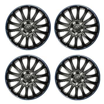 4 tapacubos universales para neumáticos de coche, color azul, negro, de Hitsan, de 35,5 cm: Amazon.es: Coche y moto