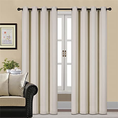 yellow curtains for bedroom. Blackout Curtains Thermal Insulated Beige and yellow for Bedroom 2  Panels W52 Amazon com