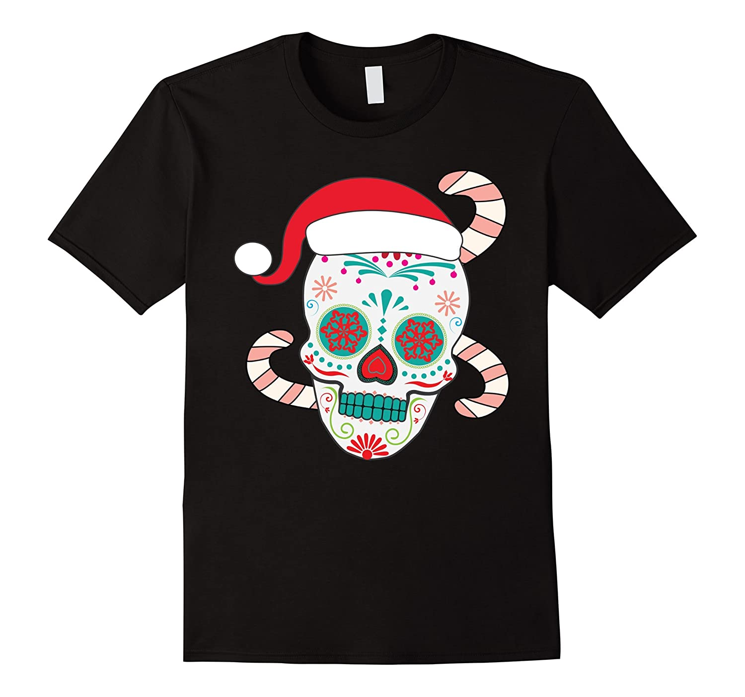 Funny Christmas Themed Sugar Skull T Shirt Anz Anztshirt