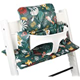 Cushion in Cotton Oeko-TEX/® Standard 100 Ukje-Cushion Tailor Made for Stokke Tripp Trapp High Chair-Cushion Set 2 Pieces Coated Plastifierd Cushion Easy to Clean with Wipes-White Geometric Black