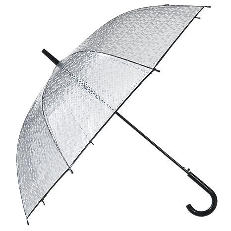 Remedios automático abierto claro transparente de los lunares del palillo paraguas lluvia,Negro