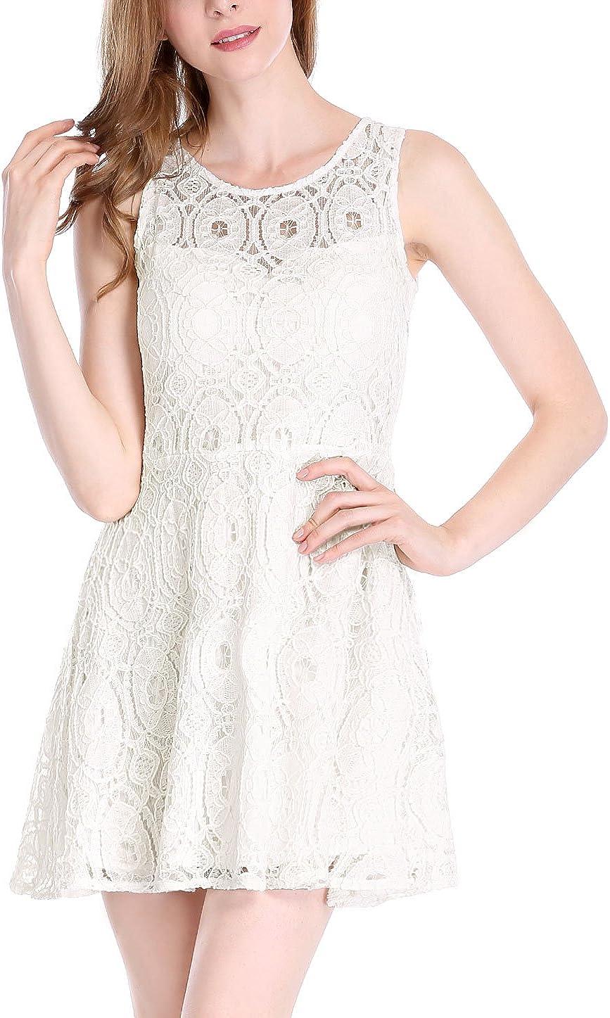 Allegra K Women's Floral Lace Sleeveless Crew Neck Flare A-Line Mini Dress