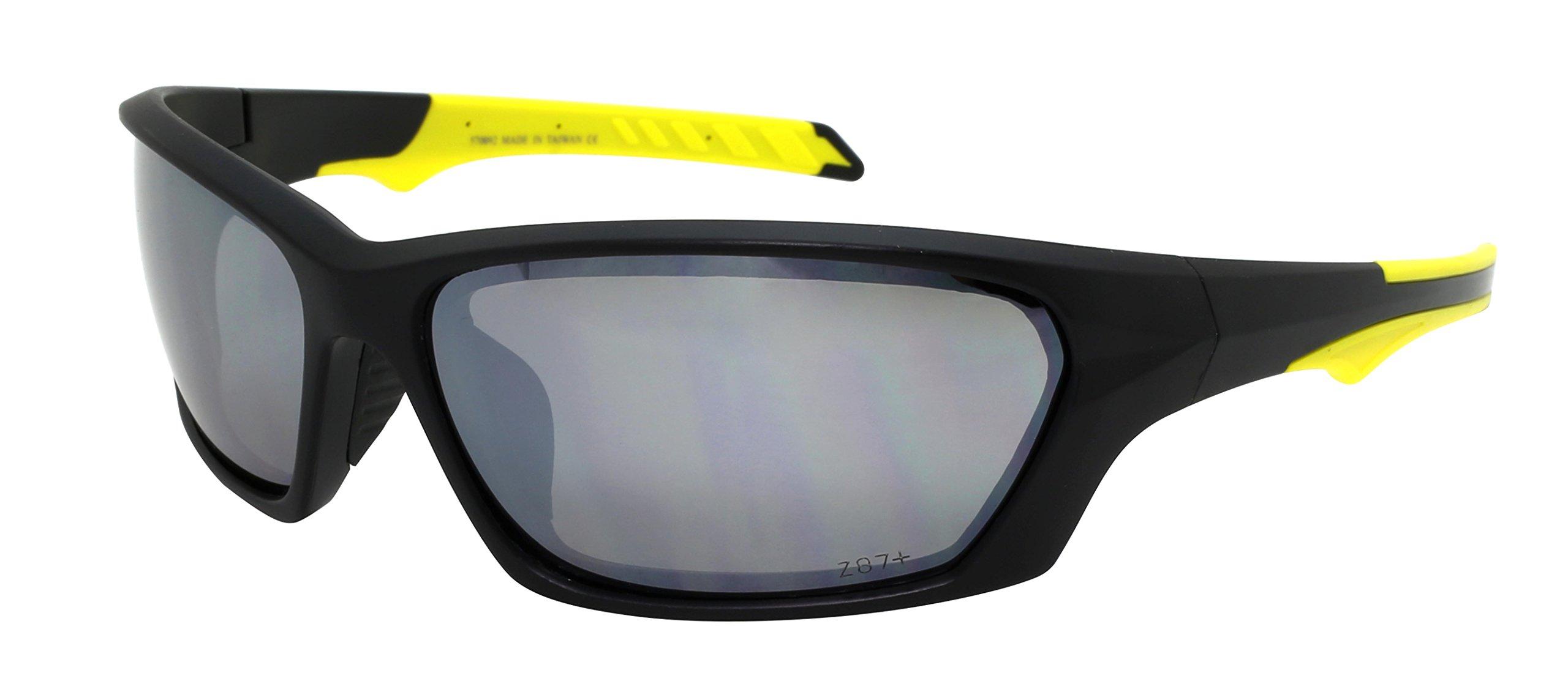 Edge I-Wear Sports Safety Sunglasses ANSI Z87+ Color Mirror Lens 570092/REV-3(MBLK. wm)