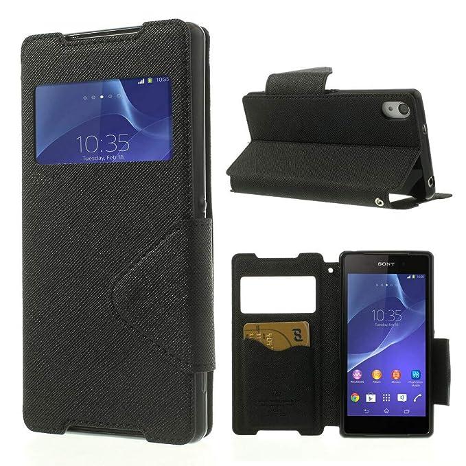 NessKa® Hülle Für Sony Xperia Z5 | Hülle in Schwarz | Handyhülle mit Kartenfach Fenster und Standfunktion Schutzhülle Flip Ca