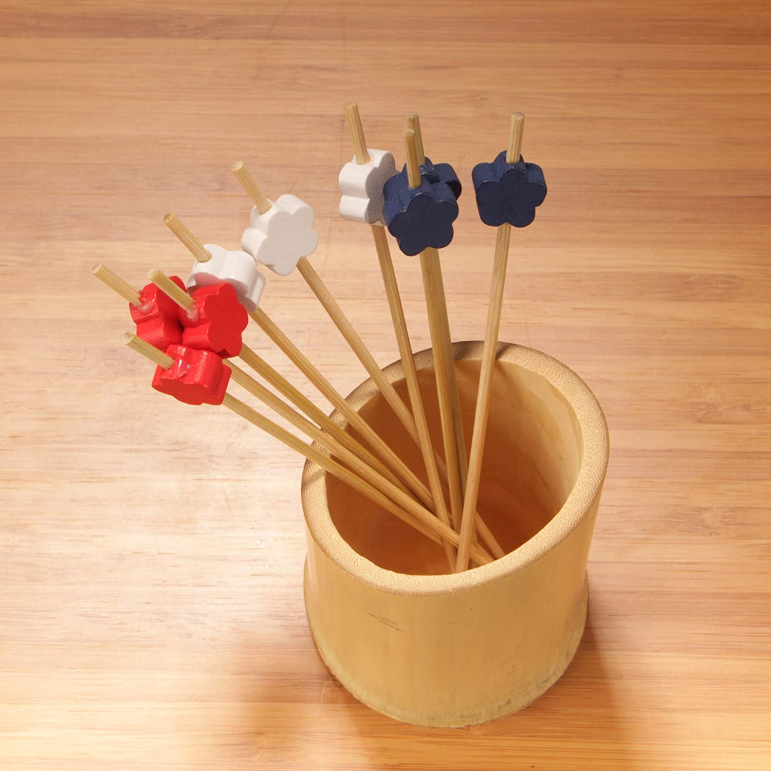 BambooMN Premium Decorative Flower End Bamboo Cocktail Sandwich Fruit Skewer Picks 4.7 Red - 100 Pcs 12cm White and Blue
