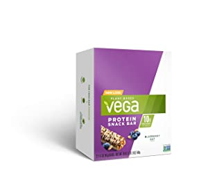 Vega Protein Snack Bar, Blueberry Oat - Vegan Protein Bars, Plant Based, Vegetarian, Dairy Free, Gluten Free, Soy Free, Non GMO (12 Count)