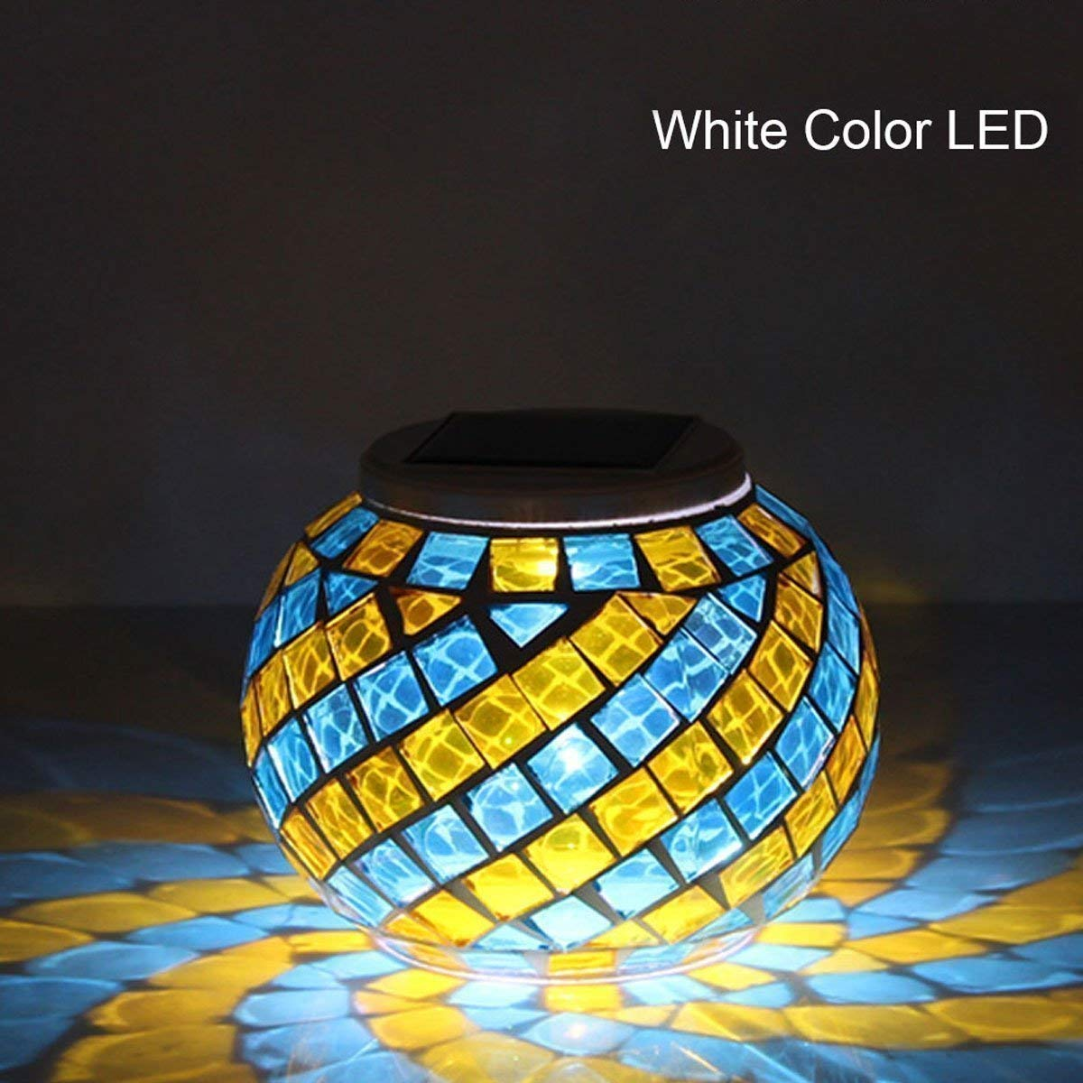 Color Changing Glass LED Rechargeable Night Lamp Waterproof Solar Outdoor Lights for Home,Yard,Patio,Christmas Party Decorations Solar Powered Mosaic Glass Garden Light Colorful
