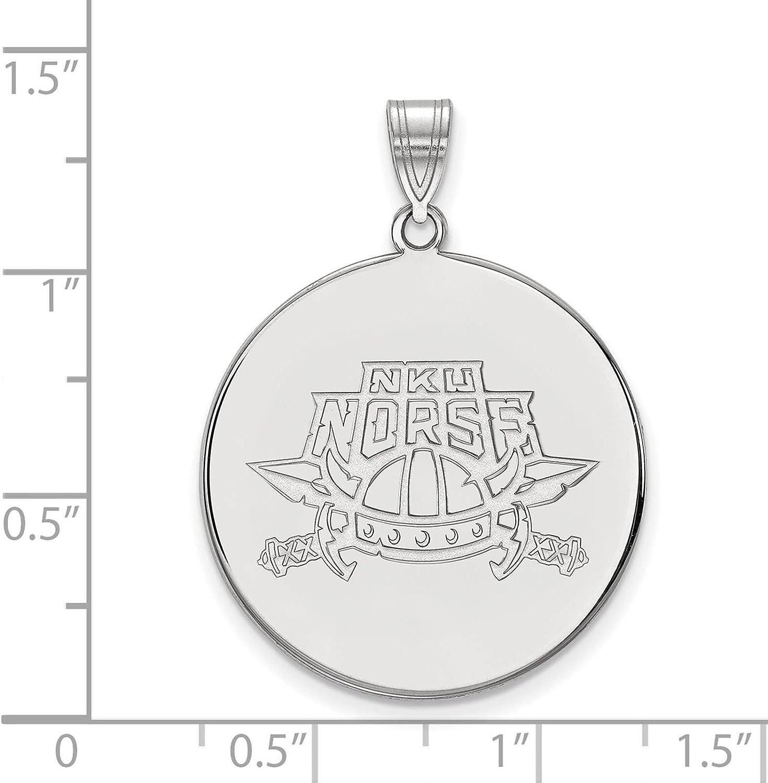 925 Sterling Silver Rhodium-plated Laser-cut Northern Kentucky University XL Disc Pendant
