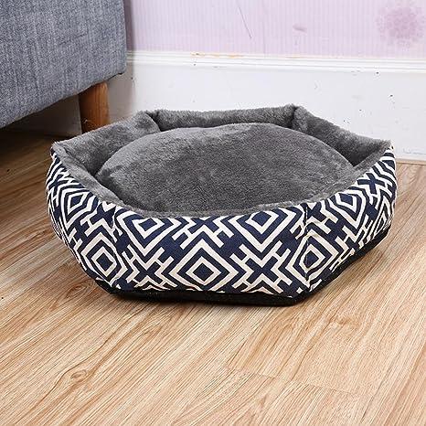 Daeou Cama para Mascotas Amortiguador del Animal doméstico Comodidad Laberinto Kennel de Gato Ártico Terciopelo desenfundable