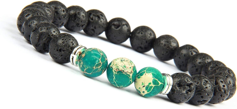 Good.Designs ® Pulsera de Perlas Chakra Fabricada de ónix y Piedra volcánica (Pulsera de Yoga) Pulsera de energía Negra con Colorida Perla de Jaspe para Damas y Caballeros (Mundo - Verde)