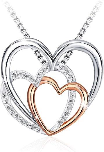 سلسال من الفضة الاسترلينية 925 بقلادة رائعة مرصعة باحجار سواروفسكي اليمنتس من جيه روزي، للنساء والبنات - JR890