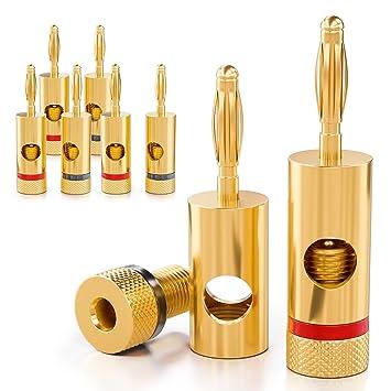 [8 piezas] deleyCON Kit Conectores Banana Sets / bafles / amplificadores / receptores AV