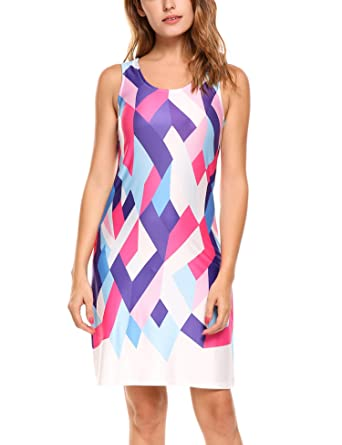 3a6803b92c1 Zeagoo Women s Sleeveless Multicolor Geometric Print Short Tank Dress at  Amazon Women s Clothing store