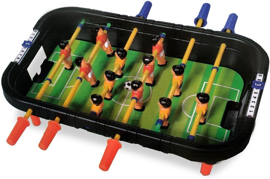 100424 Mini futbolín de mesa con 12 jugadores 6 listones y bolas incluidas: Amazon.es: Juguetes y juegos