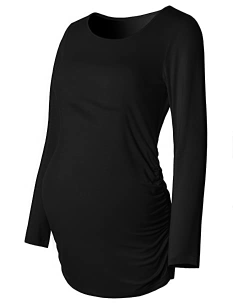 e3d218df476 Maternity Shirt Long Sleeve Basic Top Ruch Sides Bodycon Tshirt for  Pregnant Women Black S