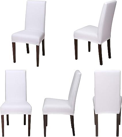 Staboos Housse de chaise extensible universelle en coton 96 % facile d'entretien et infroissable, Weiß, Lot de 2