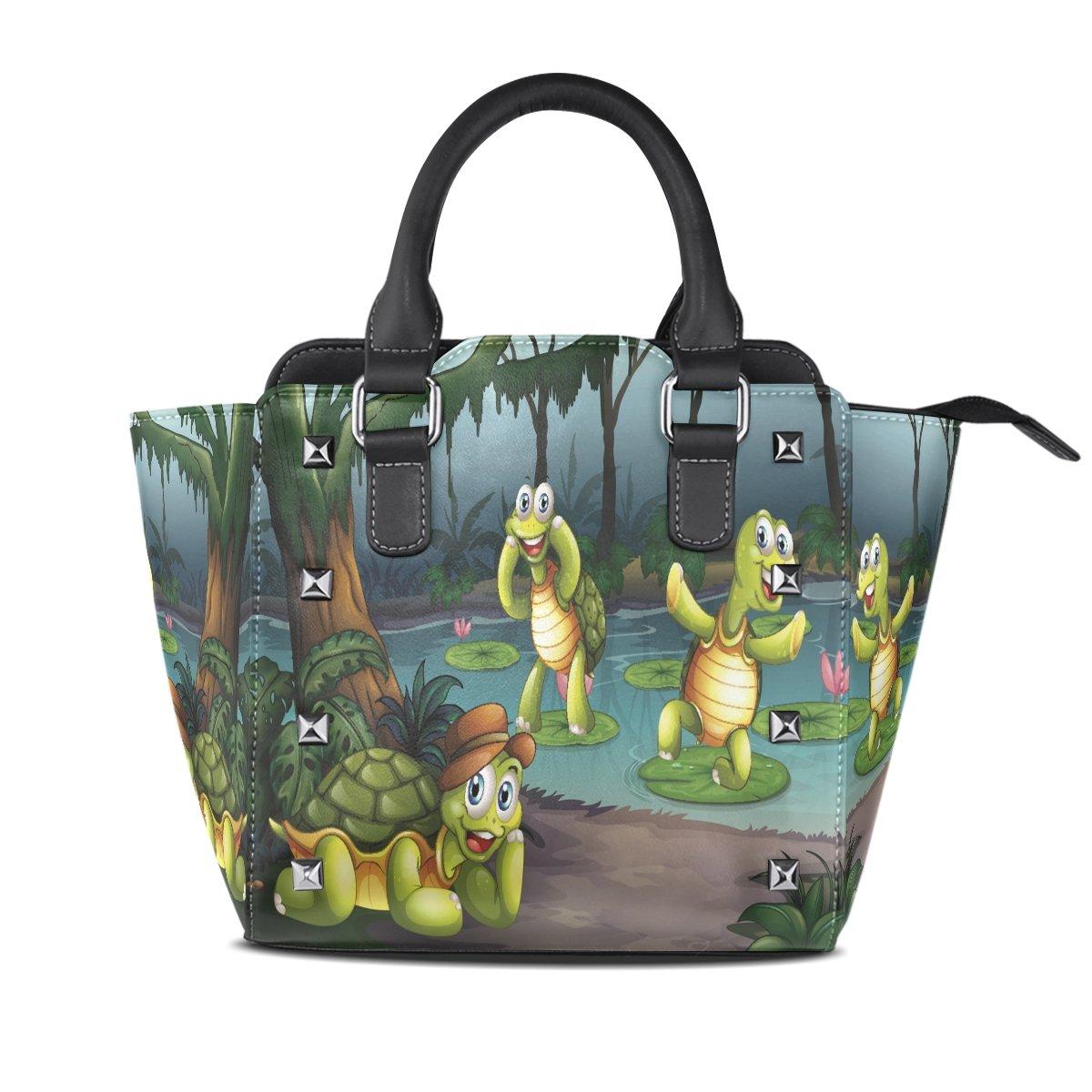 Ladies Genuine Leather Tote Bags Cute Tortoise Womens Hangbags Shoulder Bags