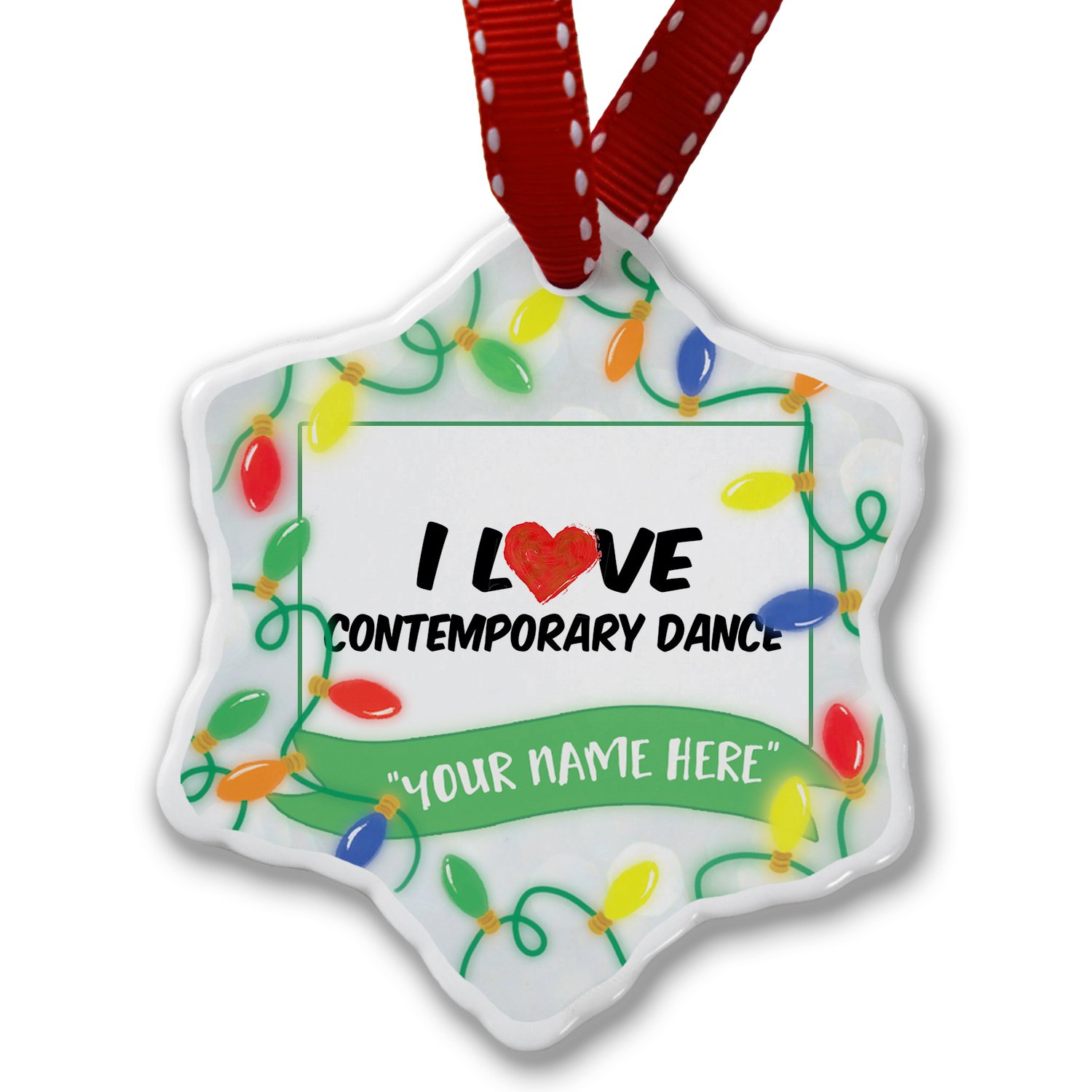 Personalized Name Christmas Ornament, I Love Contemporary Dance NEONBLOND