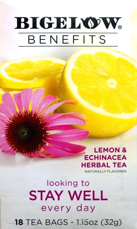 Bigelow Benefits Herbal Tea (Pack of 2) Lemon & Echinacea, 18 Count Boxes